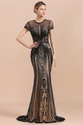 Elegante Abendkleider Lang Schwarz | Abiballkleider mit Glitzer_5