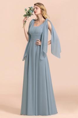 Steel Blue Brautjungfernkleider Lang |  Chiffon Kleider Günstig_1