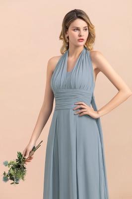 Steel Blue Brautjungfernkleider Lang |  Chiffon Kleider Günstig_11
