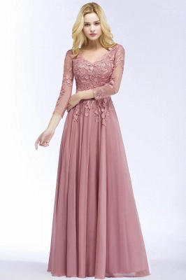Pink evening dress long V neckline | Prom dresses lace sleeves_1