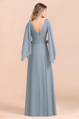 Steel Blue Brautjungfernkleider Lang |  Chiffon Kleider Günstig_10