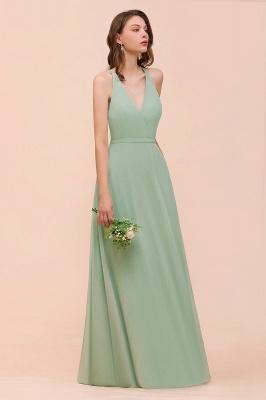 Mint Grün Brautjungfernkleider Lang Günstig   Chiffon Kleider Hochzeitsparty_6