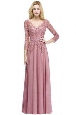 Pink evening dress long V neckline | Prom dresses lace sleeves_8