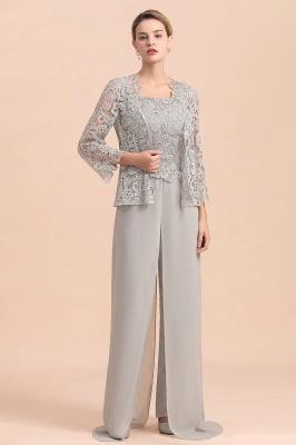 Silber Brautmutterkleider Jumpsuit | Chiffon Brautmutterkleid 3 Teillig_4