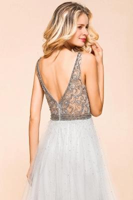Elegante Abendkleider Lang Weiß   Abiballkleider mit Glitzer_8