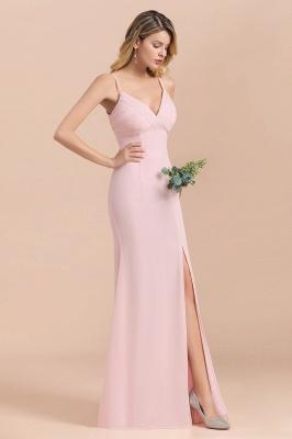 Rosa Brautjungfernkleider Lang Chiffon | Günstige Hochzeitspartykleider_6
