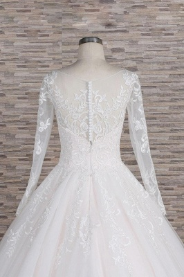 White A-Line Wedding Dresses With Sleeves | Lace wedding dresses_7