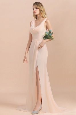Champagne Brautjungfernkleider Lang | Chiffon Kleider Für Brautjungfern_8