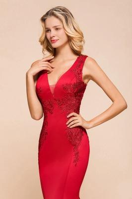 Rotes Abendkleid Lang V Ausschnitt | Abiballkleider Günstig_8