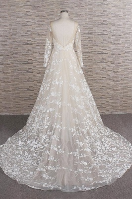 Lace wedding dress A line | Wedding dresses with sleeves_3