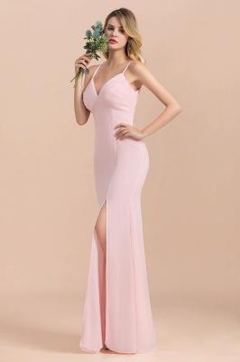 Rosa Brautjungfernkleider Lang Chiffon | Günstige Hochzeitspartykleider_9