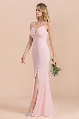 Rosa Brautjungfernkleider Lang Chiffon | Günstige Hochzeitspartykleider_7
