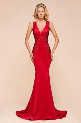 Rotes Abendkleid Lang V Ausschnitt | Abiballkleider Günstig_1