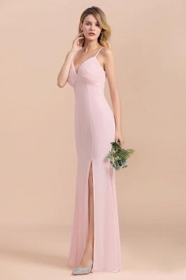 Rosa Brautjungfernkleider Lang Chiffon | Günstige Hochzeitspartykleider_4