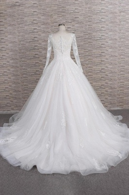 White A-Line Wedding Dresses With Sleeves | Lace wedding dresses_3