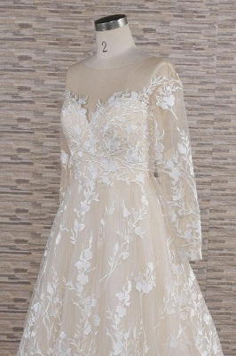 Lace wedding dress A line | Wedding dresses with sleeves_6
