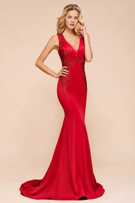 Rotes Abendkleid Lang V Ausschnitt | Abiballkleider Günstig_4