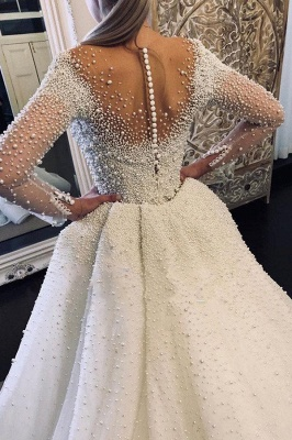 Luxus Brautkleider A linie | Hochzeitskleider mit Ärmel Online_2