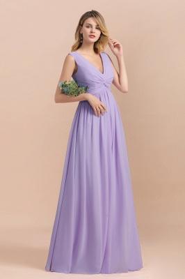 Lilac Brautjungfernkleider Lang Chiffon | Hochzeitspartykleider Günstig_5