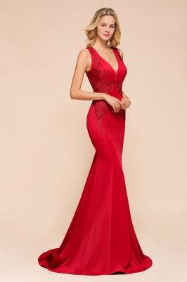 Rotes Abendkleid Lang V Ausschnitt | Abiballkleider Günstig_7