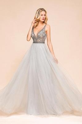 Elegante Abendkleider Lang Weiß   Abiballkleider mit Glitzer_9