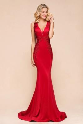 Rotes Abendkleid Lang V Ausschnitt | Abiballkleider Günstig_5