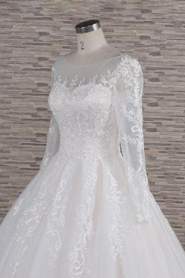 White A-Line Wedding Dresses With Sleeves | Lace wedding dresses_6