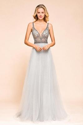 Elegante Abendkleider Lang Weiß   Abiballkleider mit Glitzer_6