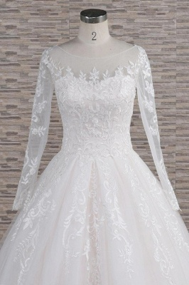 White A-Line Wedding Dresses With Sleeves | Lace wedding dresses_5