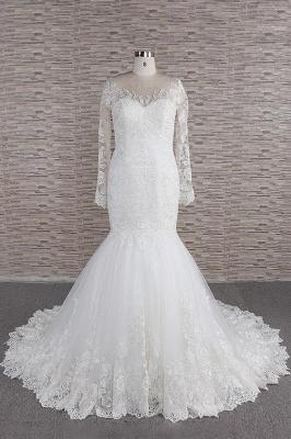 Elegant mermaid wedding dresses | Wedding dress with sleeves_1