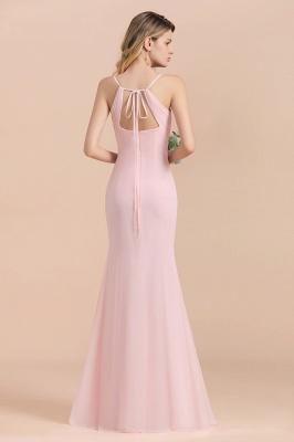 Rosa Brautjungfernkleider Lang Chiffon | Günstige Hochzeitspartykleider_3