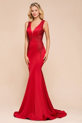 Rotes Abendkleid Lang V Ausschnitt | Abiballkleider Günstig_9