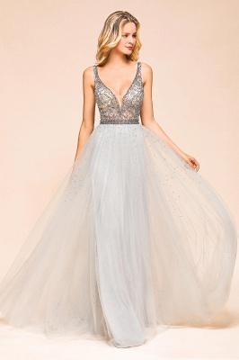 Elegante Abendkleider Lang Weiß   Abiballkleider mit Glitzer_7