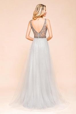 Elegante Abendkleider Lang Weiß   Abiballkleider mit Glitzer_3