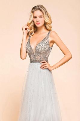 Elegante Abendkleider Lang Weiß   Abiballkleider mit Glitzer_5