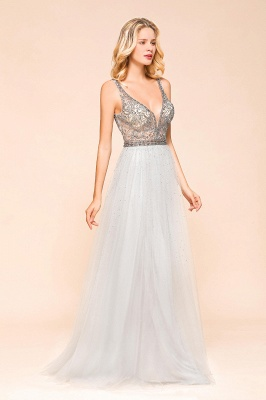 Elegante Abendkleider Lang Weiß   Abiballkleider mit Glitzer_4