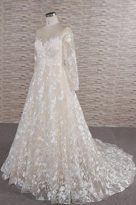 Lace wedding dress A line | Wedding dresses with sleeves_4