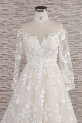 Lace wedding dress A line | Wedding dresses with sleeves_5