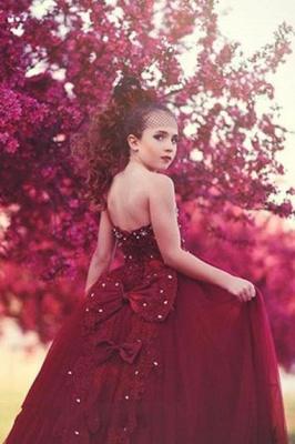 Blumenmädchen Kleider Rot | Blumenmädchen Kleid Tüll_3