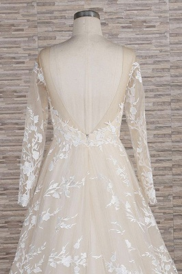 Lace wedding dress A line | Wedding dresses with sleeves_7