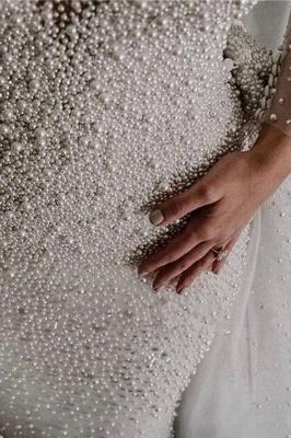 Luxus Brautkleider A linie | Hochzeitskleider mit Ärmel Online_6