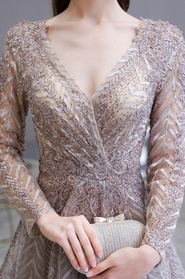 Luxury evening dresses long glitter | Prom dresses with sleeves_6