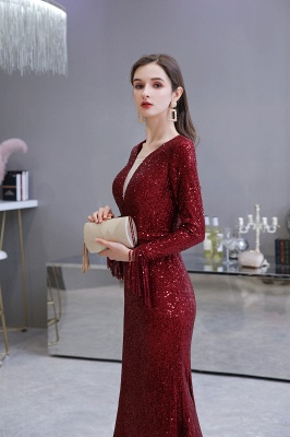 Evening dress red | Long glitter prom dresses with sleeves_17