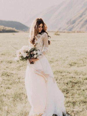 Modern wedding dress with sleeves | Simple lace wedding dresses_1