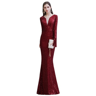 Evening dress red | Long glitter prom dresses with sleeves_20