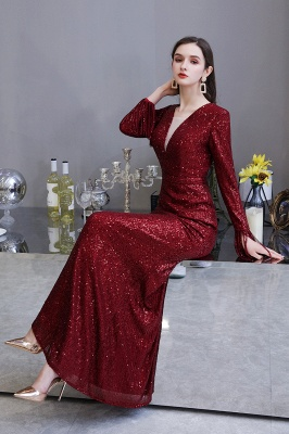 Evening dress red | Long glitter prom dresses with sleeves_22