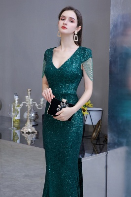 Elegant prom dresses long glitter | Evening dresses green_6