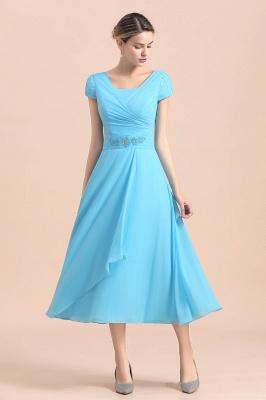 Günstige Brautmutterkleider Kurz Blau   Chiffon Kleider Günstig_8
