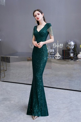 Elegant prom dresses long glitter | Evening dresses green_9
