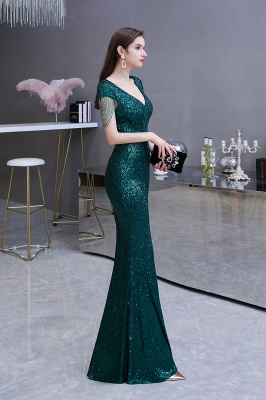 Elegant prom dresses long glitter | Evening dresses green_4